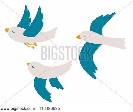 Cartoon Seagulls Set. Atlantic Seabird Flying On Isolated White Background. Birds Icon. Sea, Ocean,