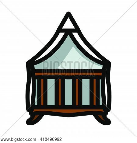 Crib With Canopy Icon. Editable Bold Outline With Color Fill Design. Vector Illustration.