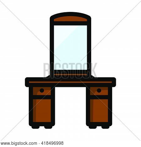 Dresser With Mirror Icon. Editable Bold Outline With Color Fill Design. Vector Illustration.