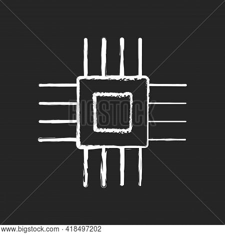 Electronic Micro Parts Chalk White Icon On Black Background. Small Electronic Components To Make Mod