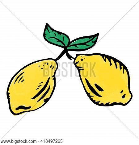 Lemons Are Hand-drawn In The Doodle Style. Hand-drawn Lemon Icon