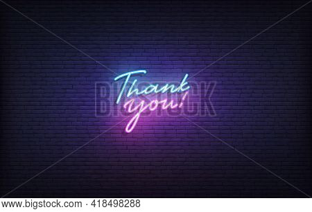 Thank You Neon Sign. Glowing Neon Lettering Thank You Template