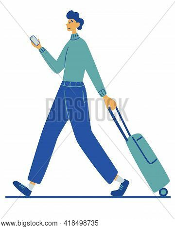 Man Carries Suitcase. Travel, Vacation, Adventure. Recreation And Tourism. Journey.  Young Man With