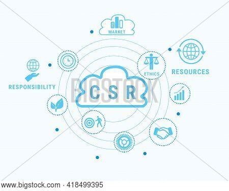 Corporate Social Responsibility Infographic On White Background, Illustration
