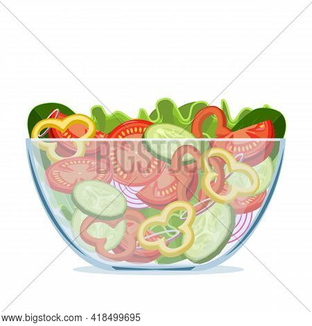 Green Salad Of Fresh Vegetables In A Transparent Salad Bowl Object Isolated On A White Background. V