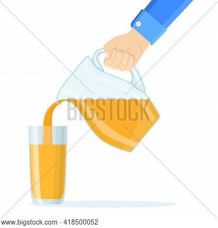 Hand Pouring Orange Fruit Juice Isolated On A White Background. Pour The Orange Juice Into A Glass.