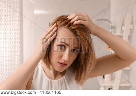 Sad Woman Suffering From Baldness At Home