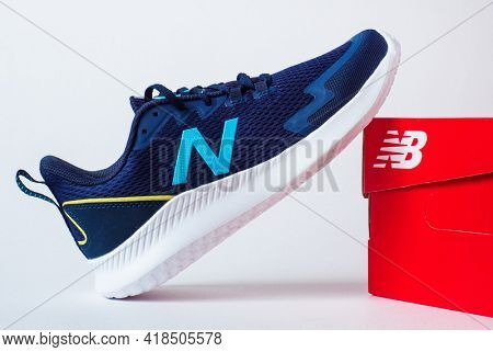 MOSCOW, RUSSIA - APRIL 27, 2021: New balance sneakers, Ryval Run model. Editorial illustrative photo