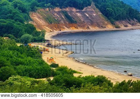 View Of The Cliffs And A Beautiful Cove On The Baltic Sea.