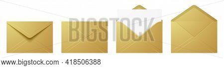 Vector Set Of The Realistic Golden Envelopes.
