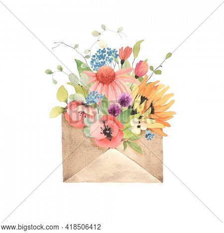 Envelope with colorful wildflowers and green leaves. Watercolor summer floral illustration isolated on white background, greeting card, gift or romantic message.