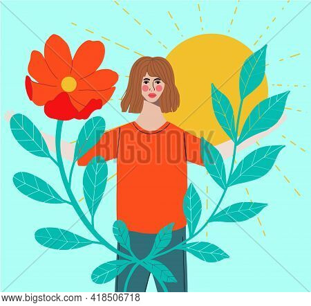 Bright Woman Portrait - Beautiful Brunette With Tanned Skin. Tropical Leaves, Floral Element On Back