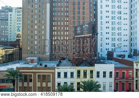 New Orleans, La - October 31: Buildings And Billboard On Canal Street In Central Business District O
