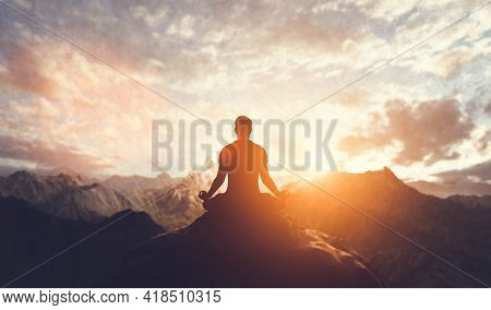 Man in yoga pose meditation at sunset. Zen, well-being and body care 3d illustration