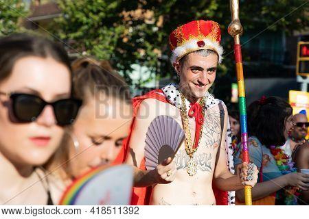 Lgtbq Pride Festival Celebration. Barcelona - Spain. June 29, 2020: A Carnival Participant In The Ma