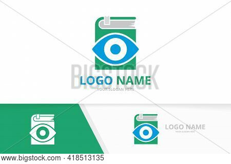 Vector Eye And Book Logo Combination. Unique Vision And Bookstore Logotype Design Template.
