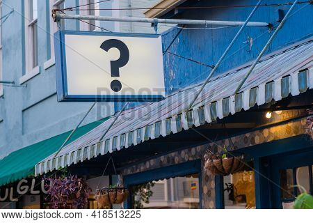 New Orleans, La - October 19: Question Mark Sign At Storefront On Oak Street On October 19, 2020 In