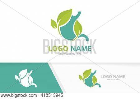 Blue Stomach And Leaves Logo. Gastrointestinal Tract Logotype Design.