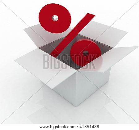 Cardboard box with percent sign on a white background.