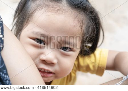 Headshot Portrait Of Adorable Child Asian Woman, Cute Little Girl With Adorable Bang Smiling And Loo