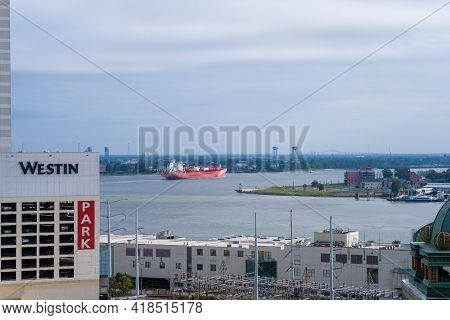 New Orleans, La  - October 27: Cargo Ship Moves Downriver On The Mississippi River At Its