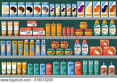 Shelves Filled With Hair And Beauty Products, Shampoos, Hair Dyes. Vector Background In Cartoon Styl