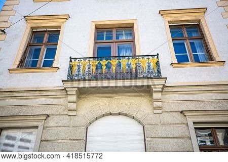 Balcony On An Art Nouveau House, Forged Balcony, Iron, In Munich