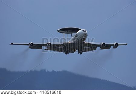 Zeltweg, Austria - September 5, 2019: Nato Early Warning Control Force Boeing E-3a Awacs Plane Flyin
