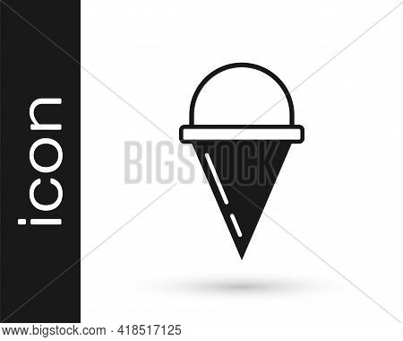 Black Fire Cone Bucket Icon Isolated On White Background. Metal Cone Bucket Empty Or With Water For