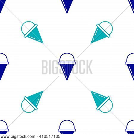 Blue Fire Cone Bucket Icon Isolated Seamless Pattern On White Background. Metal Cone Bucket Empty Or