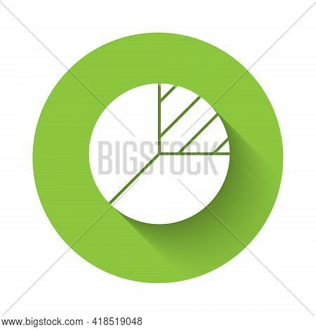 White Pie Chart Infographic Icon Isolated With Long Shadow. Diagram Chart Sign. Green Circle Button.
