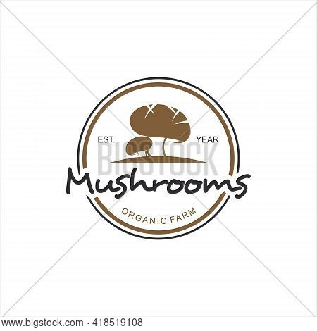 Vintage Mushrooms Logo Fungi Vector Graphic Element For Farm Or Agriculture Design And Illustration