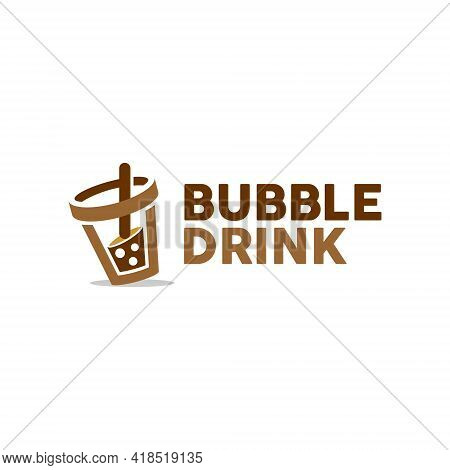 Simple Modern Bubble Drink Logo Fresh Tea Or Milk Vector Organic Food And Drink Graphic Design Templ
