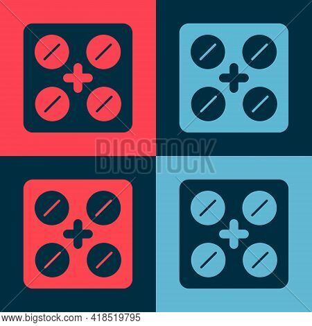 Pop Art Pills In Blister Pack Icon Isolated On Color Background. Medical Drug Package For Tablet, Vi