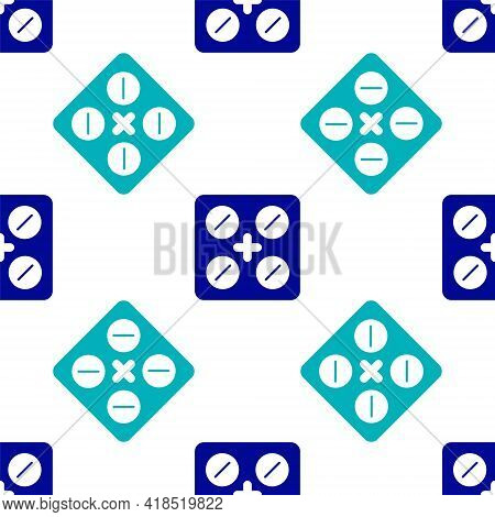Blue Pills In Blister Pack Icon Isolated Seamless Pattern On White Background. Medical Drug Package