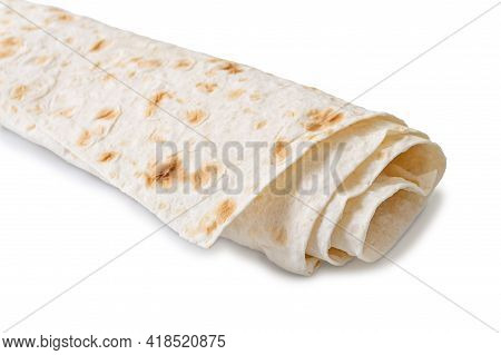 Lavash - Tasty Hearty Healthy Armenian And Turkish Unleavened Flat Bread. Rolled Up Thin Pita Bread