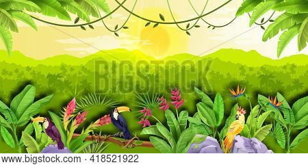 Jungle Forest Vector Landscape, Exotic Tropical Background, Green Banana Leaves, Toucan, Parrot, Sun