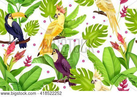 Jungle Bird Vector Seamless Pattern, Banana Leaves, Monstera, Toucan, Parrot, Exotic Flower On White