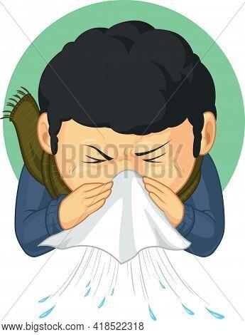 Sick Boy Caught Flu Sneezing Disease Cartoon Illustration Drawing