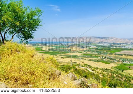 View Of The Sea Of Galilee And The Lower Jordan River Valley. Northern Israel