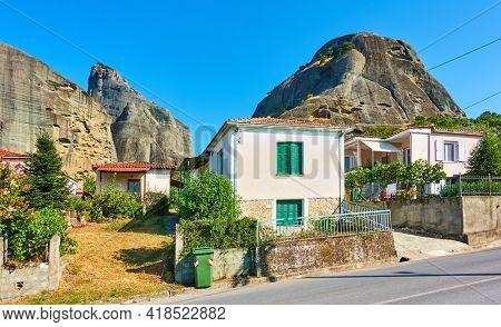 View of Kastraki village at the foot of Meteora rocks, Kalambaka, Greece