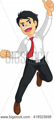 Excited Office Worker Jumping Celebration Cartoon Vector Illustration