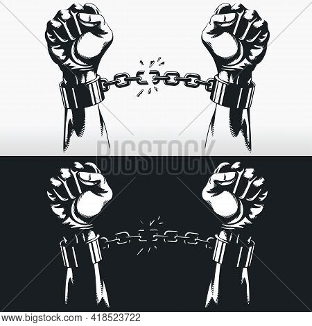 Freedom Hand Breaking Handcuff Chains Silhouette Stecil Vector Drawing