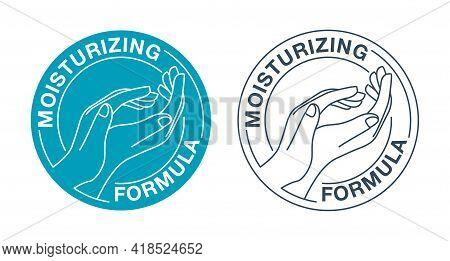 Skin Moisturizing Formula Catchy Emblem - Anti-age And Anti Wrickles Cosmetics Marking - Drawn Woman