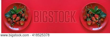 Strawberry Banner. Red Strawberries In A Round Red Cup On A Red Background. Strawberry Berry Banner.