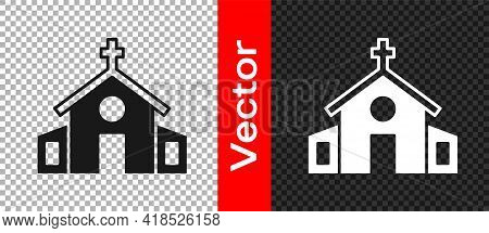 Black Church Building Icon Isolated On Transparent Background. Christian Church. Religion Of Church.
