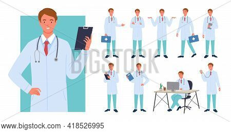 Doctor Man Poses Infographic Set, Young Male Professional Medic Holding Emergency Box
