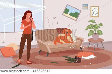 Problem Of Pet Dog Owner Vector Illustration. Cartoon Upset Woman Scolding Dog For Mess And Damaged
