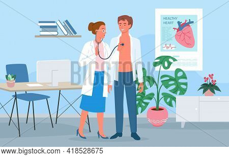 Cardiology Medicine Appointment, Doctor Cardiologist Woman With Stethoscope And Patient