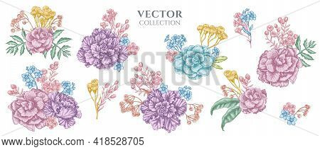 Flower Bouquet Of Pastel Wax Flower, Forget Me Not Flower, Tansy, Ardisia, Brassica, Decorative Cabb